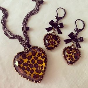 Betsey Johnson Leopard Necklace and Earrings.